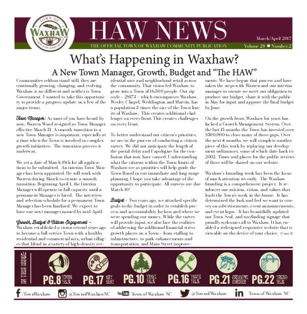 Waxhaw News - The Official Community Publication - Waxhaw, NC Waxhaw News March_April 2017