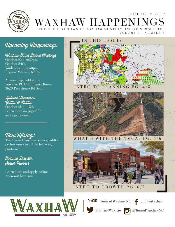 Waxhaw Happenings Waxhaw Happenings October 2017 Issue