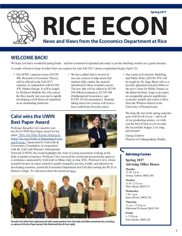 Rice Economics Spring 2017 Newsletter