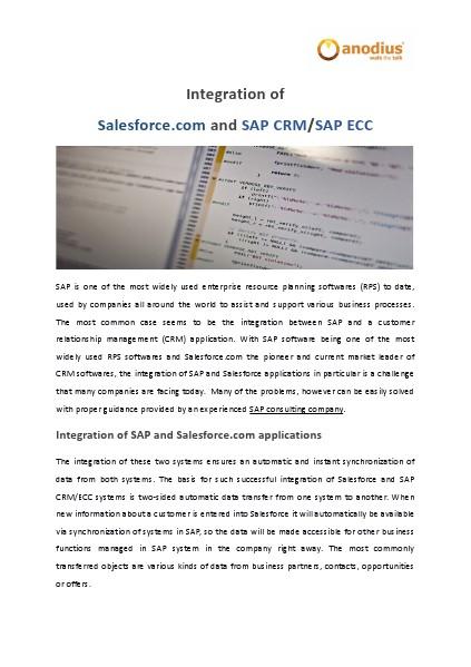 Integration of SAP and Salesforce.com softwares