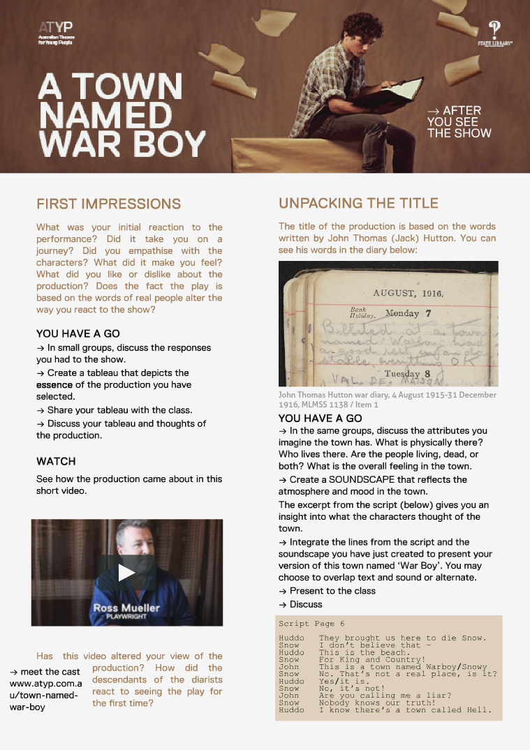 A TOWN NAMED WAR BOY: ATYP After you see the show: 2015 Premiere Season