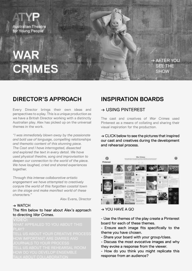 WAR CRIMES: ATYP AFTER YOU SEE THE SHOW
