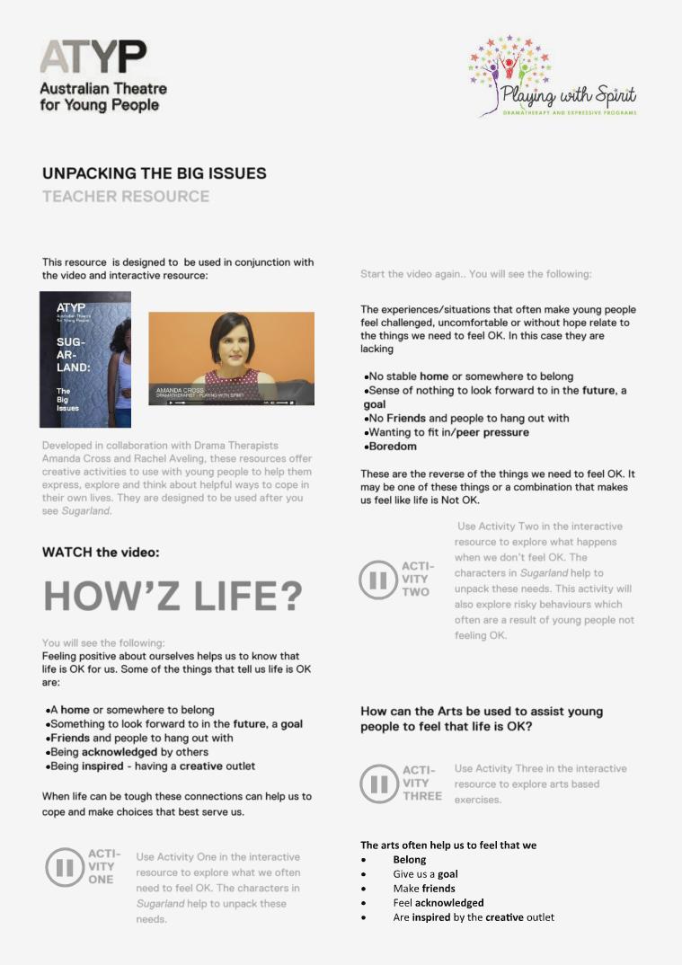 SUGARLAND_ATYP TACKLING THE BIG ISSUES