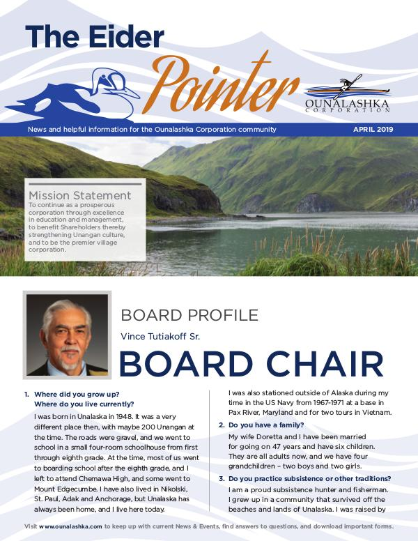 Ounalashka Corp - The Eider Pointer Newsletter_April2019