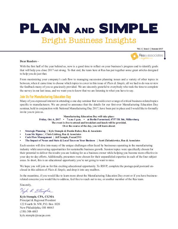 Plain and Simple: Bright Business Insights Summer 2017
