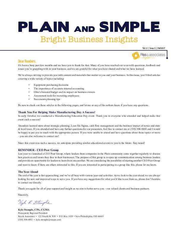 Plain and Simple: Bright Business Insights Fall 2017