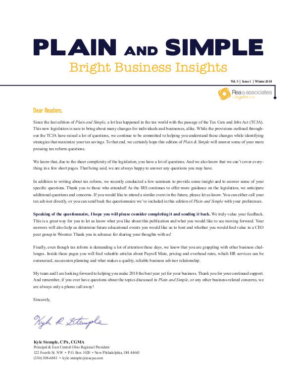 Plain and Simple: Bright Business Insights Winter 2018
