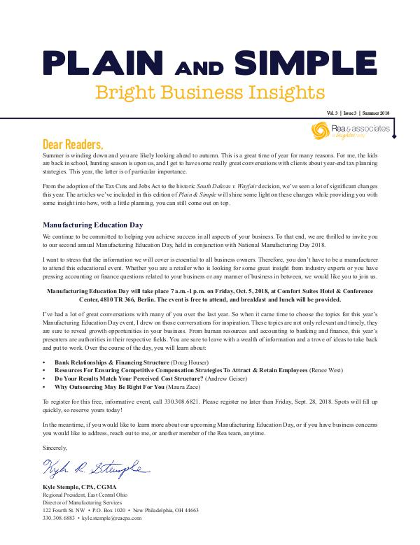 Plain and Simple: Bright Business Insights Summer 2018
