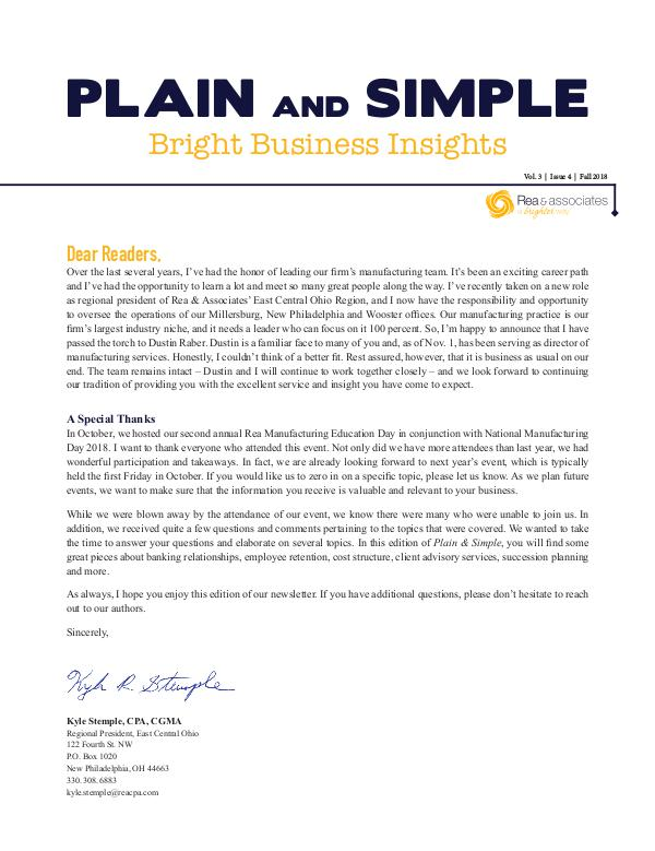 Plain and Simple: Bright Business Insights Fall 2018
