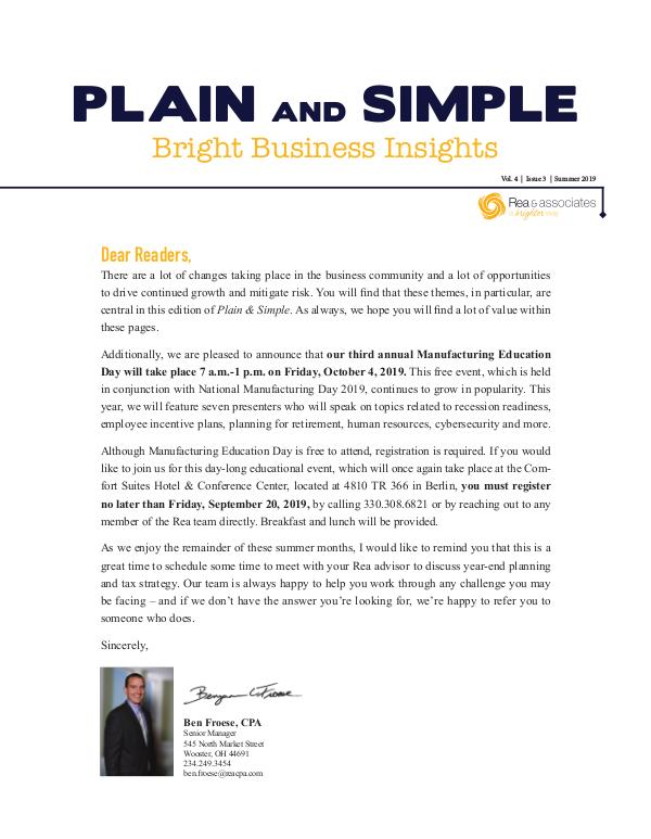 Plain and Simple: Bright Business Insights Summer 2019