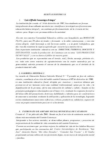 Reseñas históricas de Centros Educativos e instituciones de Catamayo No. 1