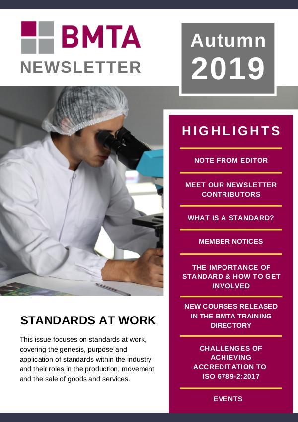 BMTA Newsletter - Autumn 2019 BMTA Newsletter - Autumn 2019