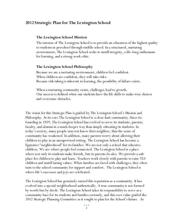 2012 Strategic Plan for The Lexington School 2012 Strategic Plan for The Lexington School