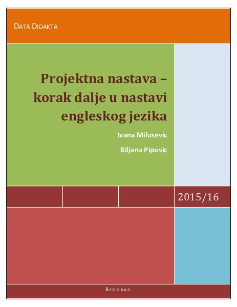 Пројектна настава -корак даље у настави енглеског језика 2