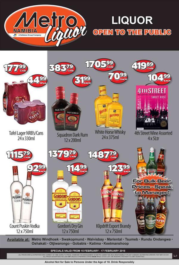 Metro Liquor Namibia 15 Feb - 17 Feb 2018