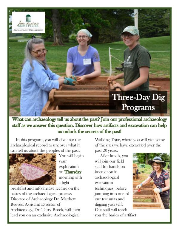 Montpelier Archaeology Public Programs (2019/2020) Three-Day Dig