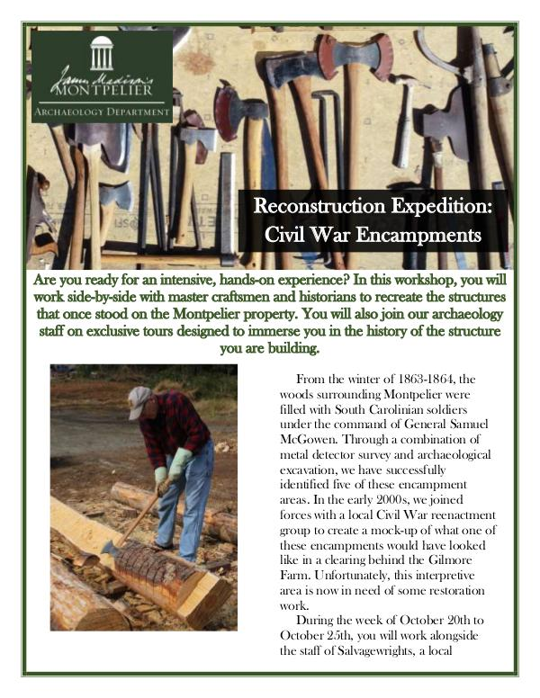 Montpelier Archaeology Public Programs (2019/2020) Reconstruction: Civil War Encampments