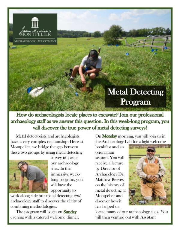 Montpelier Archaeology Public Programs (2019/2020) Metal Detecting