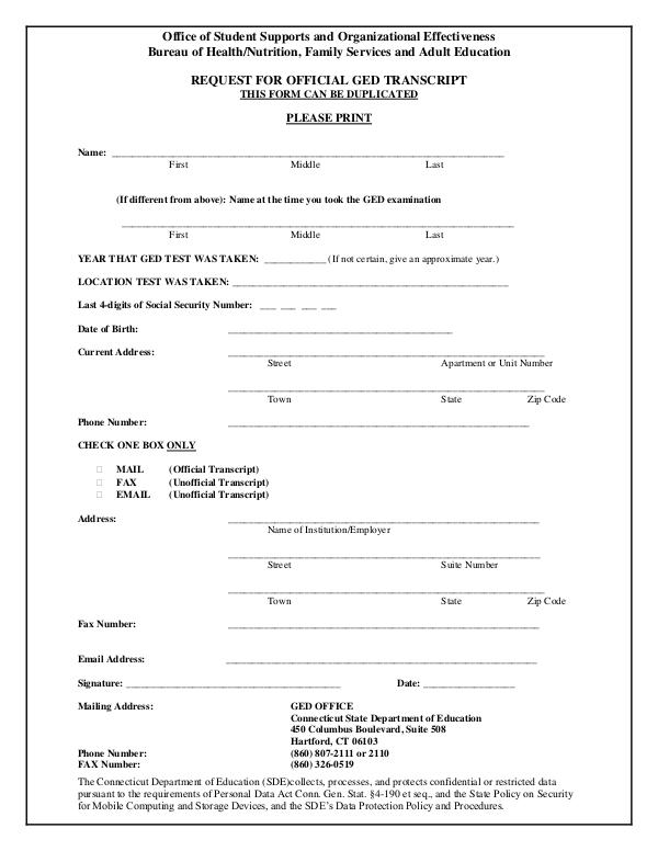 GED Transcript Request Form