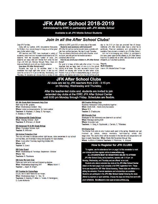 JFK Middle School: Patriot Herald Newsletter JFK Clubs 2018-19