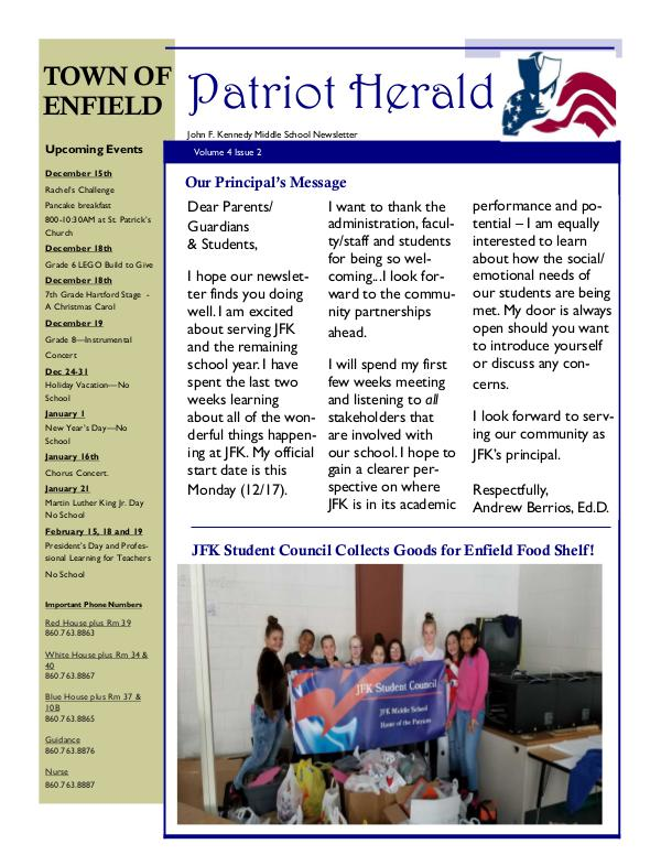 JFK Middle School: Patriot Herald Newsletter JFK  2018-19  Q2 Newsletter