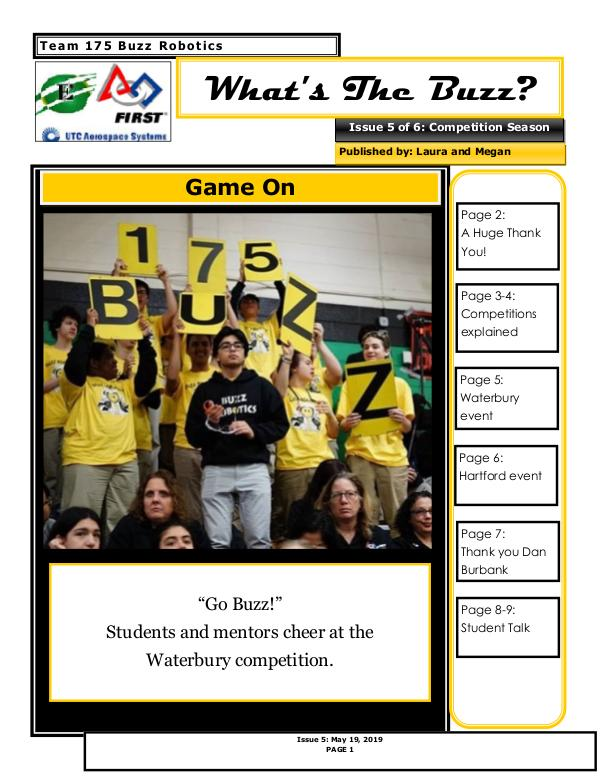 What's The Buzz Buzz 2019 Newsletter Issue 5