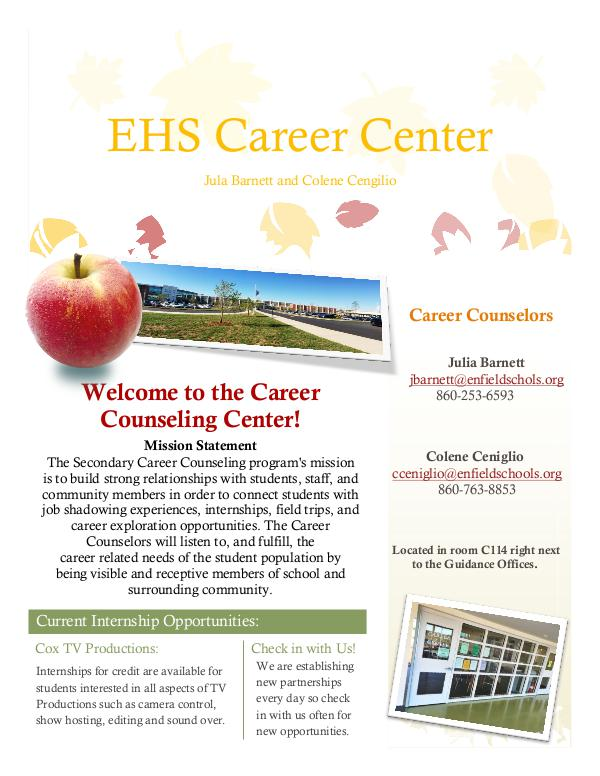 Enfield High Newsletters - Eagle Edition Career Center