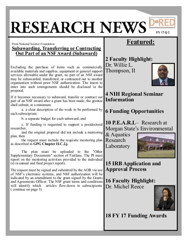 Division of Research and Economic Development FY 17 Q2 Research News FY 17 Q 2 newsletter