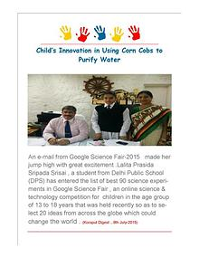 Koraput Child Innovates to Use Corn Cobs as Water Purifier