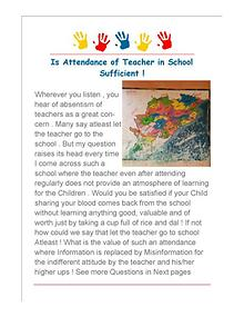 Is Attendance of Teacher in School as Visitor Enough  for Children !