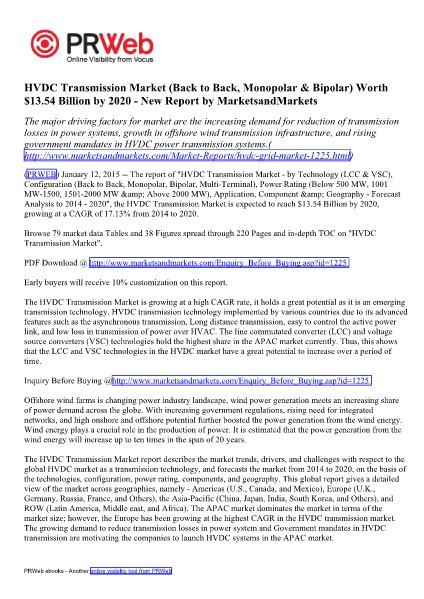 HVDC Transmission Market (LCC & VSC) by Technology - 2020 | Marketsan HVDC Transmission Market (LCC & VSC) by Technology