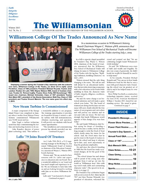 The Williamsonian Winter 2015