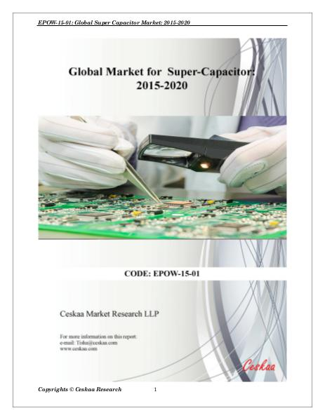 Supercapacitor Market to reach $4.8 billion by 2020 Supercapacitor Industry