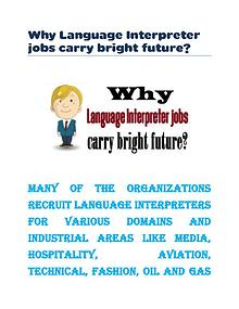 Why Language Interpreter jobs carry bright future?