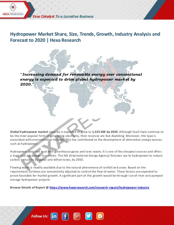 Energy & Power Industry Reports Hydropower Market Insights, 2020
