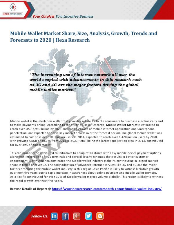 Technology Mobile Wallet Market Research Report, 2020