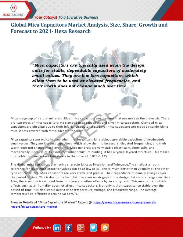Semiconductors & Electronics Industry Mica Capacitors Market Trends, 2021