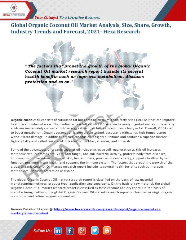 Food and Beverages Industry Report Organic Coconut Oil Market Insights, 2021