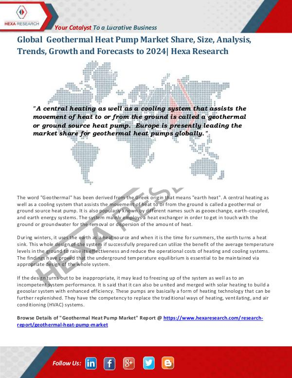 HVAC and Construction Industry Geothermal Heat Pump Market Insights, 2024