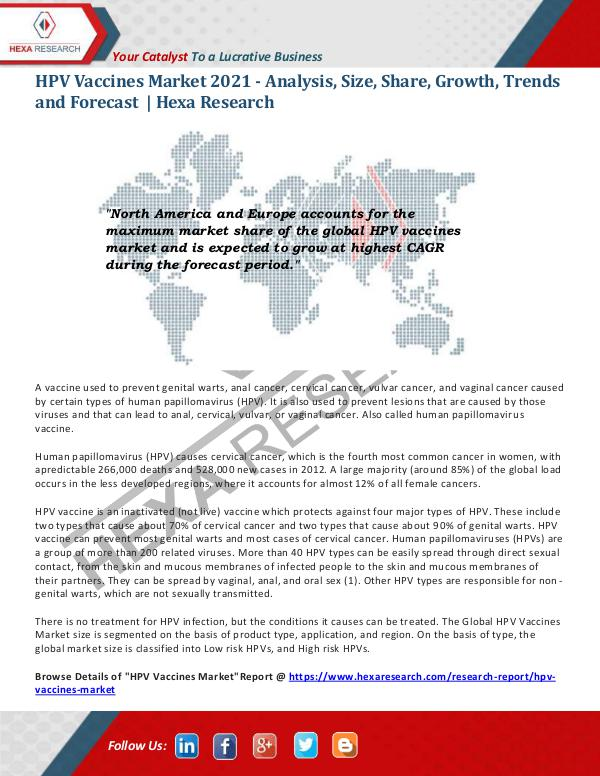 Healthcare Industry HPV Vaccines Market Research Report 2021