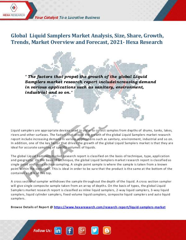 Healthcare Industry Liquid Samplers Market Share and Size, 2021