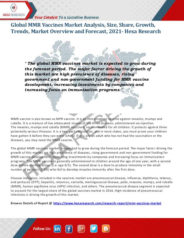 Healthcare Industry MMR Vaccines Market Growth and Analysis, 2021