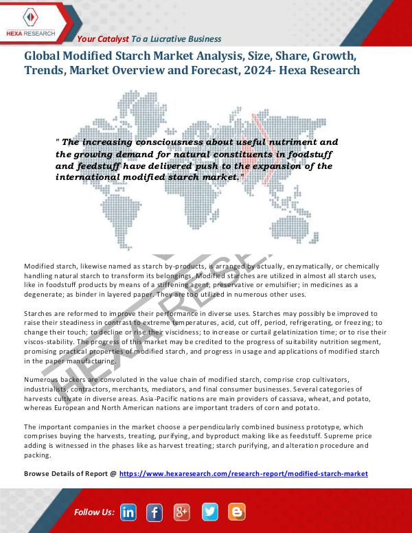 Food and Beverages Industry Report Modified Starch Market Research Report, 2024