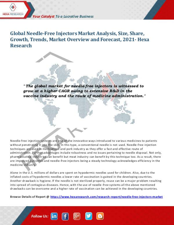 Healthcare Industry Needle-Free Injectors Market Research Report, 2021