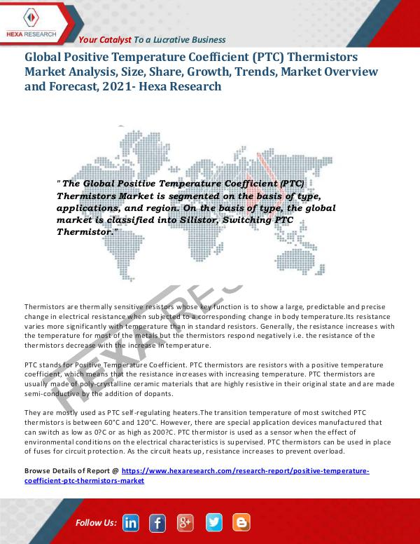 PTC Thermistors Market Analysis, 2021