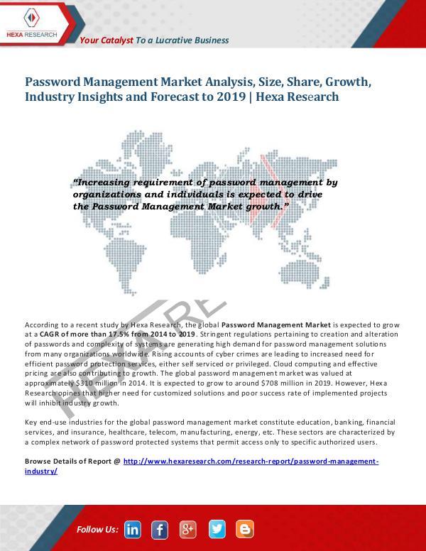Technology Password Management Market Trends, 2019