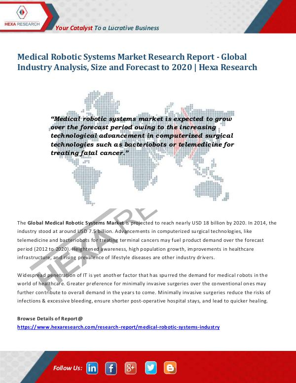 Healthcare Industry Medical Robotic Systems Market Trends, 2020