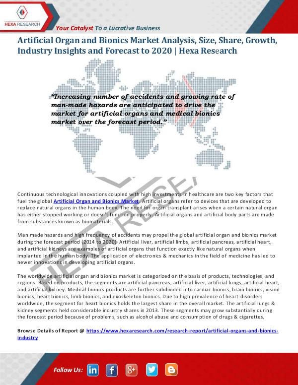 Healthcare Industry Artificial Organ And Bionics Market Size 2020