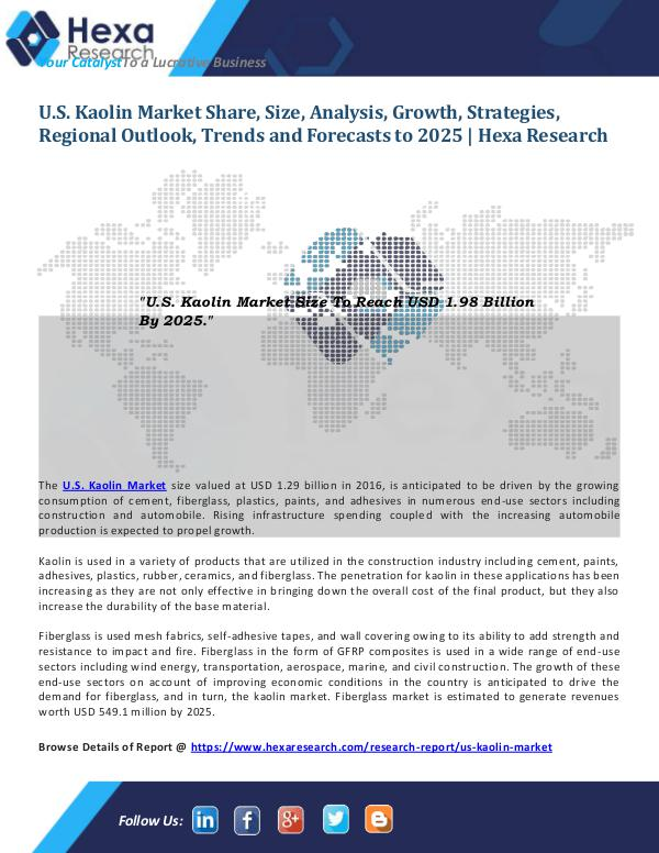 Bulkchemicals Market Reports U.S. Kaolin Market Size and Share