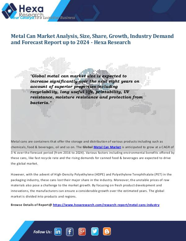 Food and Beverages Industry Report Metal Can Market Report 2024